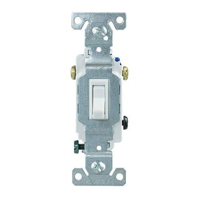 Standard Grade 15 Amp 3-Way Toggle Switch with Push and Side Wiring - White