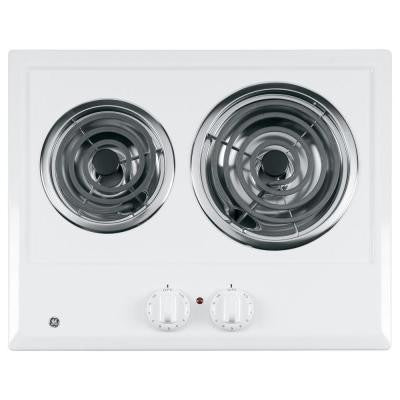 21 in. Coil Electric Cooktop in White with 2 Elements