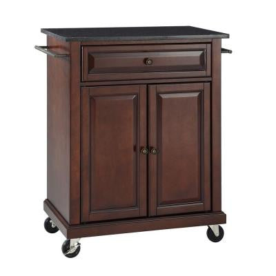 28-1/4 in. W Solid Black Granite Top Mobile Kitchen Island Cart in Mahogany