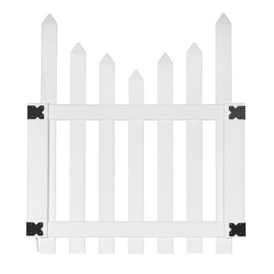 3.5 ft. x 4 ft. White Vinyl Glendale Scalloped Top Spaced Picket Fence Gate with 3 in. Pointed Pickets