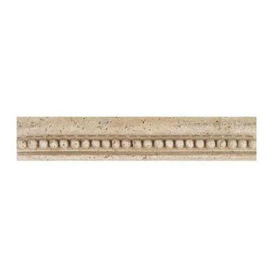 Fashion Accents Bead 2-1/4 in. x 13 in. Travertine Chair Rail Wall Tile
