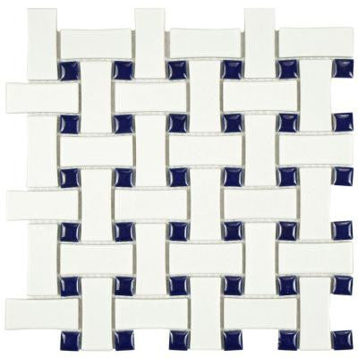 Metro Basket Weave White and Cobalt 10-1/2 in. x 10-1/2 in. x 5 mm Porcelain Mosaic Floor and Wall Tile