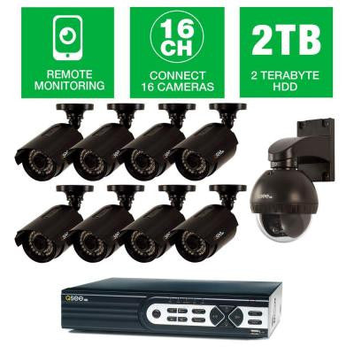 HeritageHD Series Wired 16 CH HD 2TB Video Surveillance System with (8) 1080p Bullet Cameras and 1 Pan/Tilt 720p Camera