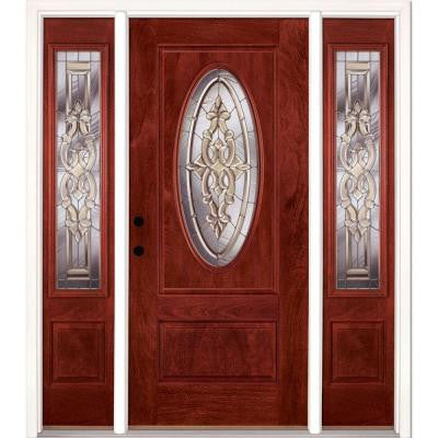 59.5 in. x 81.625 in. Silverdale Zinc 3/4 Oval Lite Stained Cherry Mahogany Fiberglass Prehung Front Door with Sidelites