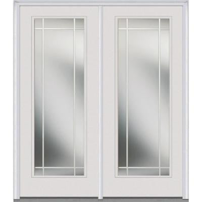 Classic Clear Glass 72 in. x 80 in. Builder's Choice Steel Prehung Left-Hand Inswing Full Lite PIM Patio Door