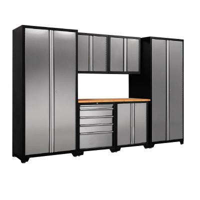 Pro Stainless Steel 83 in. H x 128 in. W x 24 in. D Garage Cabinet Set in Silver (7-Piece)