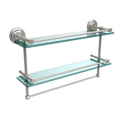 22 in. W Gallery Double Glass Shelf with Towel Bar in Satin Nickel