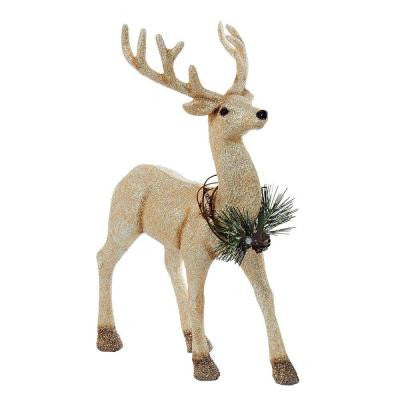 12 in. Gold Glitter Reindeer with Wreath Decoration