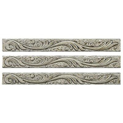 Baroque Pewter Scroll Stick 5/8 in. x 6 in. Resin Wall Trim Tile (3-Pack)