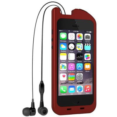 TurtleCell Retractable Headphone Case for iPhone 5/5S - Red