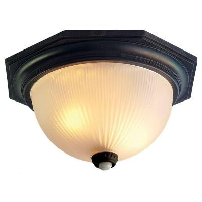 Outer Banks Collection Ceiling-Mount 2-Light Outdoor Matte Black Fixture