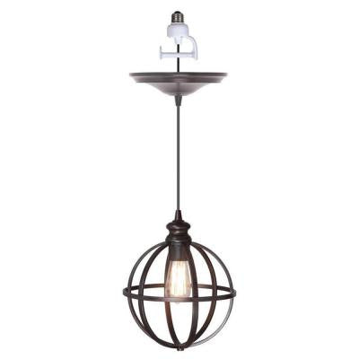 1-Light Brushed Bronze Instant Pendant Conversion Kit and Globe Cage Shade