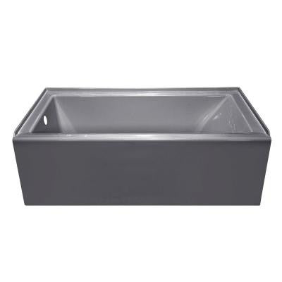 Linear 5 ft. Left Drain Soaking Tub in Silver Metallic