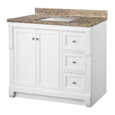 Naples 37 in. W x 22 in. D Vanity in White with Granite Vanity Top in Ornamental Giallo and White Basin