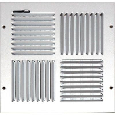 10 in. x 10 in. Ceiling/Sidewall Vent Register, White with 4-Way Deflection