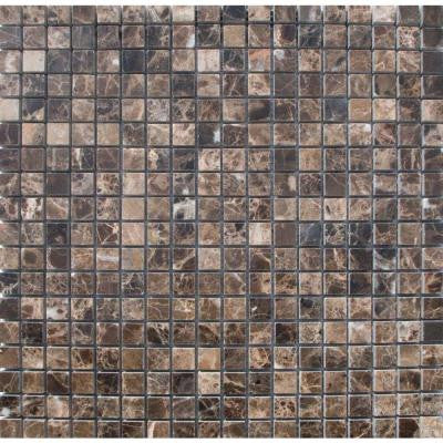 Emperador Cafe 12 in. x 12 in. x 10 mm Tumbled Marble Mesh-Mounted Mosaic Tile