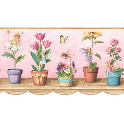 9.75 in. x 15 ft. Pink Fairy Border