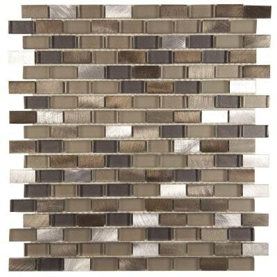 Fusion Mini Subway Aragon 11-1/4 in. x 12 in. x 6 mm Brushed Aluminum and Glass Mosaic Wall Tile