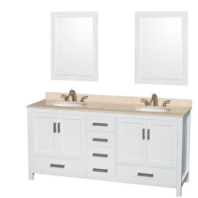 Sheffield 72 in. Double Vanity in White with Marble Vanity Top in Ivory and 24 in. Mirrors