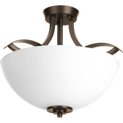 Merge Collection 2-Light Antique Bronze Semi-Flush Mount Light