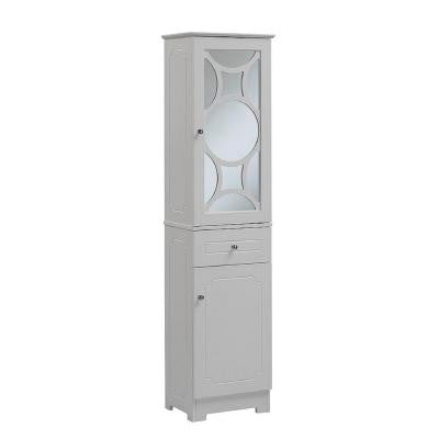 16 in. W x 12 in. D x 64 in. H Wood Bathroom Linen Tower in White