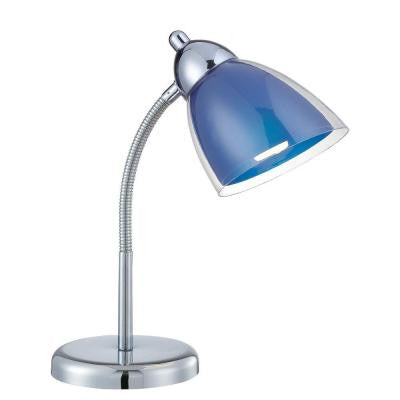 Designer Collection 14 in. Chrome Desk Lamp with Blue Acrylic Shade
