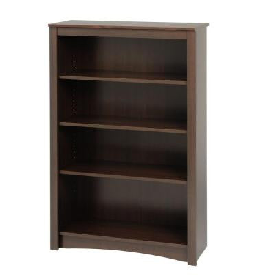 4-Shelf Bookcase in Espresso
