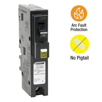 Homeline 15 Amp Single-Pole Plug-On Neutral CAFCI Circuit Breaker