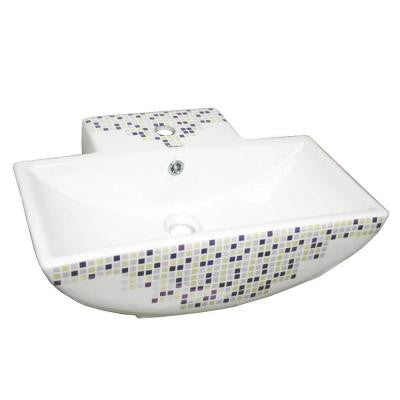 Isabella Decorative Rectangular Wall-Mounted Bathroom Sink in White