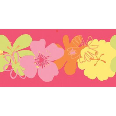 12.5 in. x 15 ft. Brightly Colored Poppin' Poppies Border