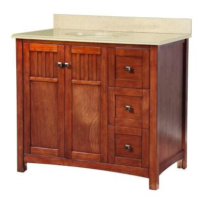 Knoxville 37 in. W x 22 in. D Vanity in Nutmeg with Colorpoint Vanity Top in Maui