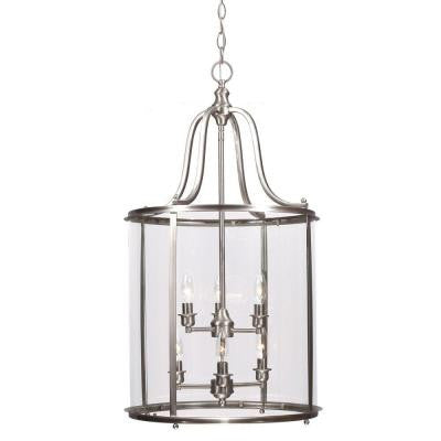 Gillmore 6-Light Brushed Nickel Hall/Foyer Lantern with Clear Glass