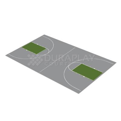 44 ft. 3 in. x 75 ft. 6 in. Gray and Slate Green Full Court Basketball Kit