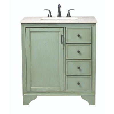 Hazelton 31 in. Vanity in Antique Green with Marble Vanity Top in Beige