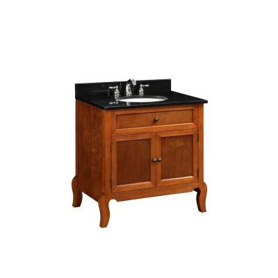 30 in. W x 34-1/4 in. H x 21 in. D Vanity Cabinet Only in Light Mahogany