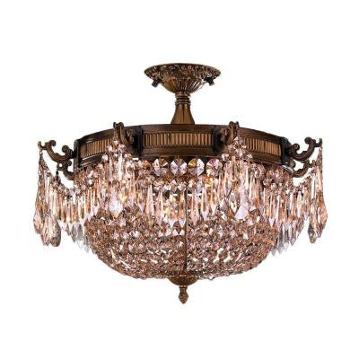 Winchester Collection 3-Light Antique Bronze and Golden Teak Crystal Semi-Flush Mount Light