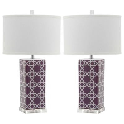 Quatrefoil 27 in. Light Purple Table Lamp (Set of 2)
