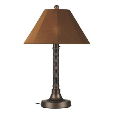Bahama Weave 34 in. Dark Mahogany Outdoor Table Lamp with Teak Shade