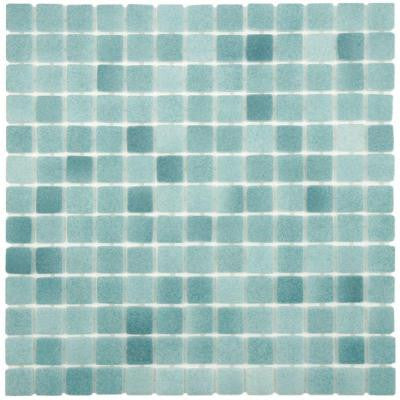 Ruidera Square Niebla Azul Anti-Slip 13 in. x 13 in. x 5 mm Glass Mosaic Floor and Wall Tile