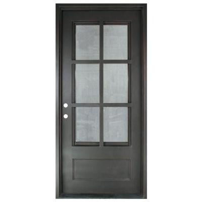 37.5 in. x 81.5 in. Craftsman Classic 3/4 Lite Painted Oil Rubbed Bronze Decorative Wrought Iron Prehung Front Door
