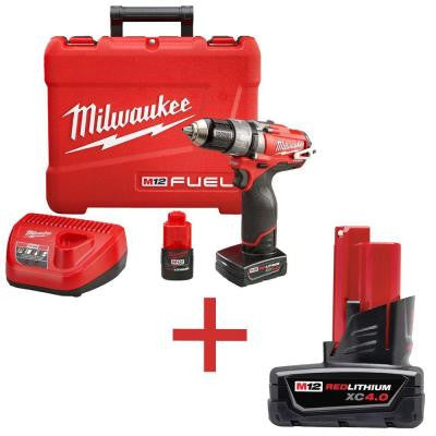 M12 FUEL 12-Volt Lithium-Ion Brushless 1/2 in. Cordless Hammer Drill and Driver Kit with 4.0Ah Lithium-Ion Battery