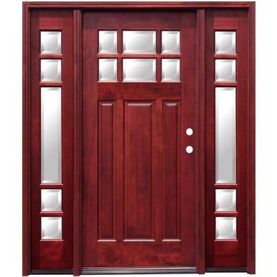 64 in. x 80 in. Craftsman 6 Lite Stained Mahogany Wood Prehung Front Door with 12 in. Sidelites