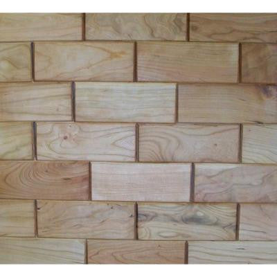 3 in. x 8 in. Prefinished Cherry Wooden Wall Tile