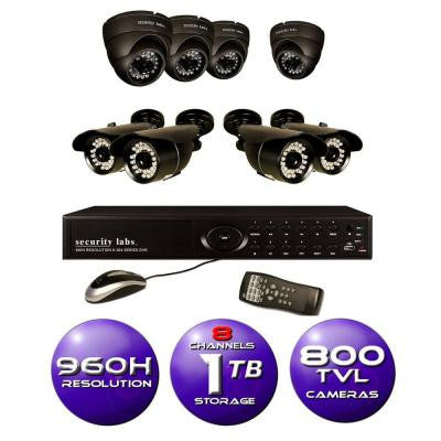 8-Channel 960H Surveillance System with 1TB HDD and (8) 800 TVL Cameras
