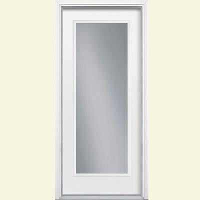 36 in. x 80 in. Full Lite Primed Smooth Fiberglass Prehung Front Door with Brickmold