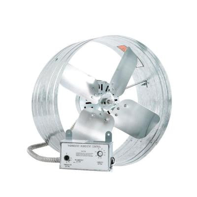 14 in. Variable Speed Gable Mount Attic Ventilator Fan with Adjustable Thermostat and Humidistat