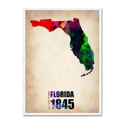 24 in. x 18 in. Florida Watercolor Map Canvas Art