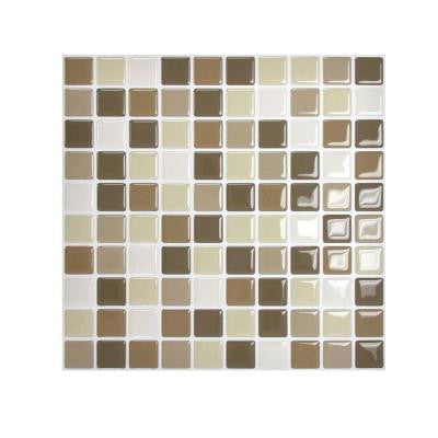 9.85 in. x 9.85 in. Mosaic Adhesive Decorative Wall Tile Backsplash Harmony in Beige (6-Piece)