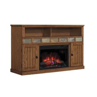 Margate 55 in. Media Electric Fireplace in Burnished Pine