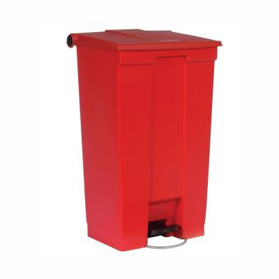 23 Gal. Red Fire-Safe Step-On Mobile Trash Can